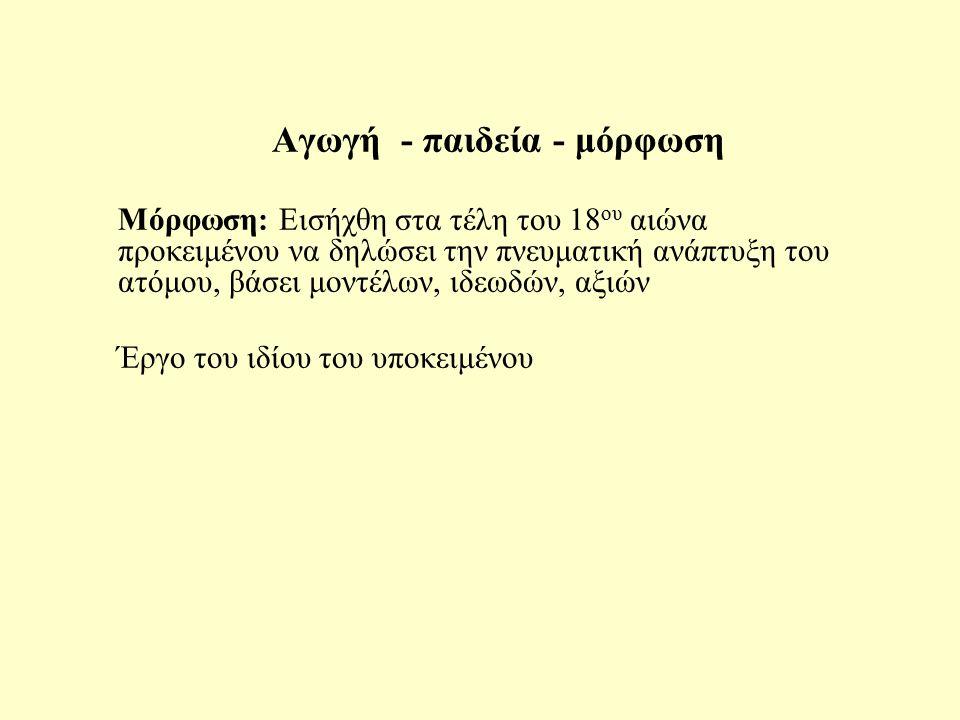 Αγωγή - παιδεία - μόρφωση Παιδεία: Απαντάται στο «Επτά επί Θήβας», στιχ.18 (Αισχύλος) με την έννοια της τροφής «Η μητέρα Γη ανέλαβε την τροφή όλων των