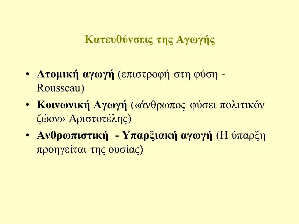 Παράγοντες της αγωγής Το φυσικό περιβάλλον (Ο Πλάτων και ο Αριστοτέλης αποδίδουν τις αρετές των Ελλήνων στη γεωγραφική θέση και στο εύκρατο κλίμα) Το