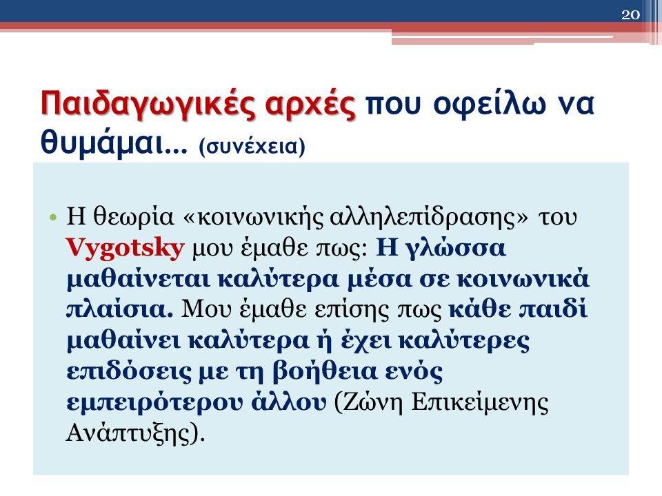 Παιδαγωγικές αρχές Παιδαγωγικές αρχές που οφείλω να θυμάμαι… (συνέχεια) Η θεωρία «κοινωνικής αλληλεπίδρασης» του Vygotsky μου έμαθε πως: Η γλώσσα μαθαίνεται καλύτερα μέσα σε κοινωνικά πλαίσια.