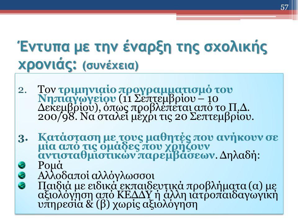 Έντυπα με την έναρξη της σχολικής χρονιάς: (συνέχεια) 2.Τον τριμηνιαίο προγραμματισμό του Νηπιαγωγείου (11 Σεπτεμβρίου – 10 Δεκεμβρίου), όπως προβλέπεται από το Π.Δ.