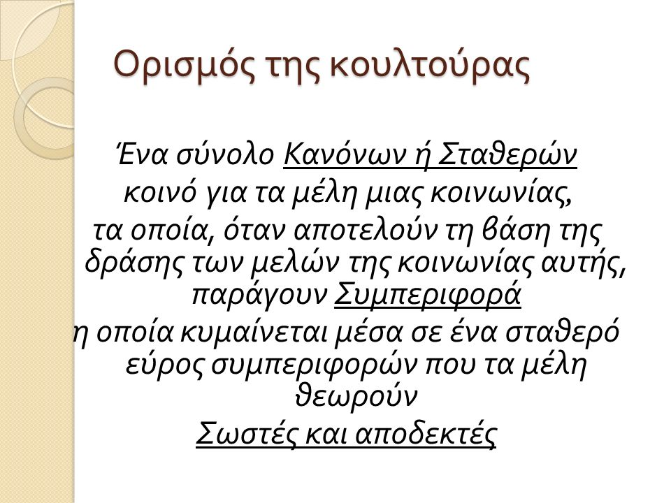 1990's – Πολιτισμική ανθρωπολογία A set of Rules or Standards shared by members of a society, which when acted upon by the members, produce Behaviour that falls within a range of variation the members consider Proper and Acceptable