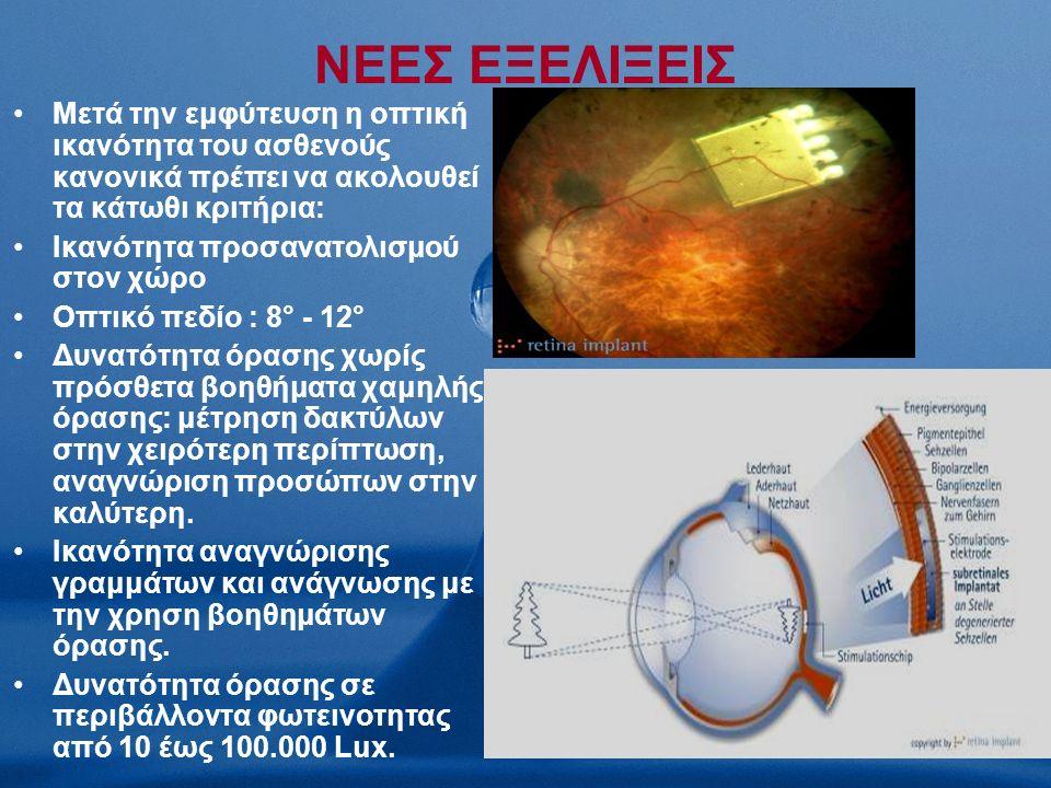 ΝΕΕΣ ΕΞΕΛΙΞΕΙΣ Μετά την εμφύτευση η οπτική ικανότητα του ασθενούς κανονικά πρέπει να ακολουθεί τα κάτωθι κριτήρια: Ικανότητα προσανατολισμού στον χώρο Οπτικό πεδίο : 8° - 12° Δυνατότητα όρασης χωρίς πρόσθετα βοηθήματα χαμηλής όρασης: μέτρηση δακτύλων στην χειρότερη περίπτωση, αναγνώριση προσώπων στην καλύτερη.