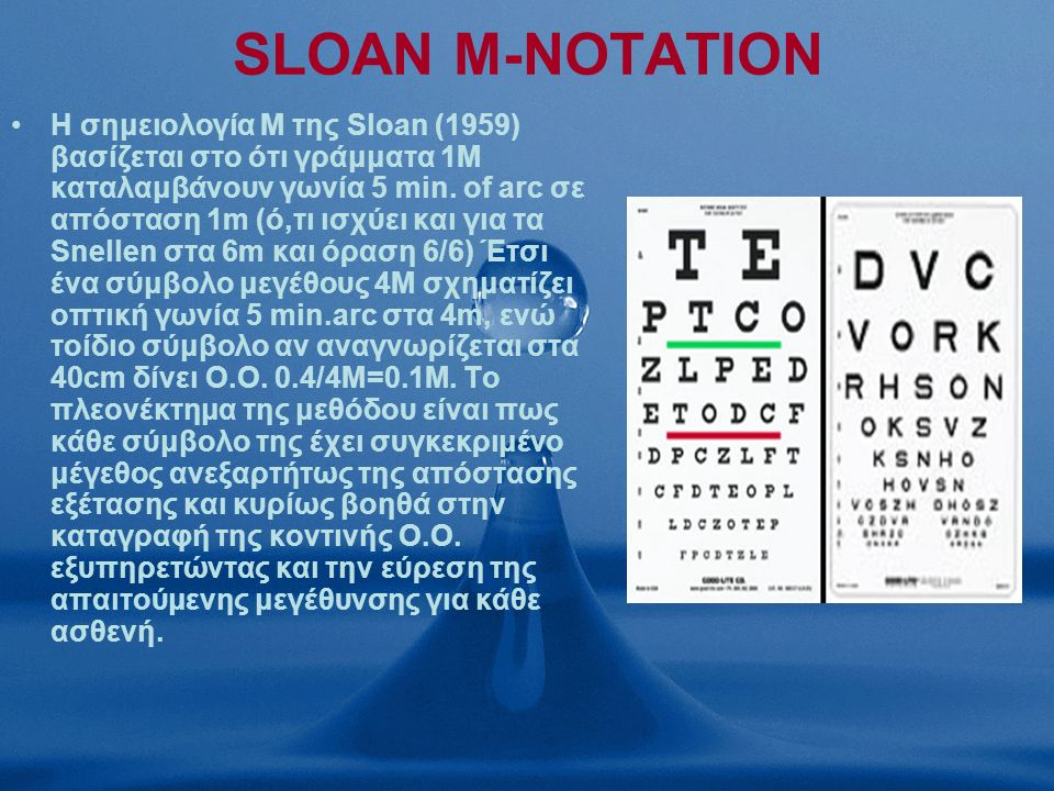 SLOAN M-NOTATION Η σημειολογία Μ της Sloan (1959) βασίζεται στο ότι γράμματα 1Μ καταλαμβάνουν γωνία 5 min.