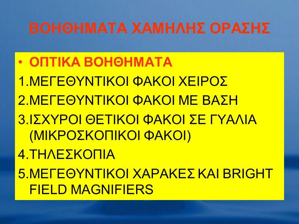ΒΟΗΘΗΜΑΤΑ ΧΑΜΗΛΗΣ ΟΡΑΣΗΣ OΠΤΙΚΑ ΒΟΗΘΗΜΑΤΑ 1.ΜΕΓΕΘΥΝΤΙΚΟΙ ΦΑΚΟΙ ΧΕΙΡΟΣ 2.ΜΕΓΕΘΥΝΤΙΚΟΙ ΦΑΚΟΙ ΜΕ ΒΑΣΗ 3.ΙΣΧΥΡΟΙ ΘΕΤΙΚΟΙ ΦΑΚΟΙ ΣΕ ΓΥΑΛΙΑ (ΜΙΚΡΟΣΚΟΠΙΚΟΙ ΦΑΚΟΙ) 4.ΤΗΛΕΣΚΟΠΙΑ 5.ΜΕΓΕΘΥΝΤΙΚΟΙ ΧΑΡΑΚΕΣ ΚΑΙ BRIGHT FIELD ΜΑGNIFIERS