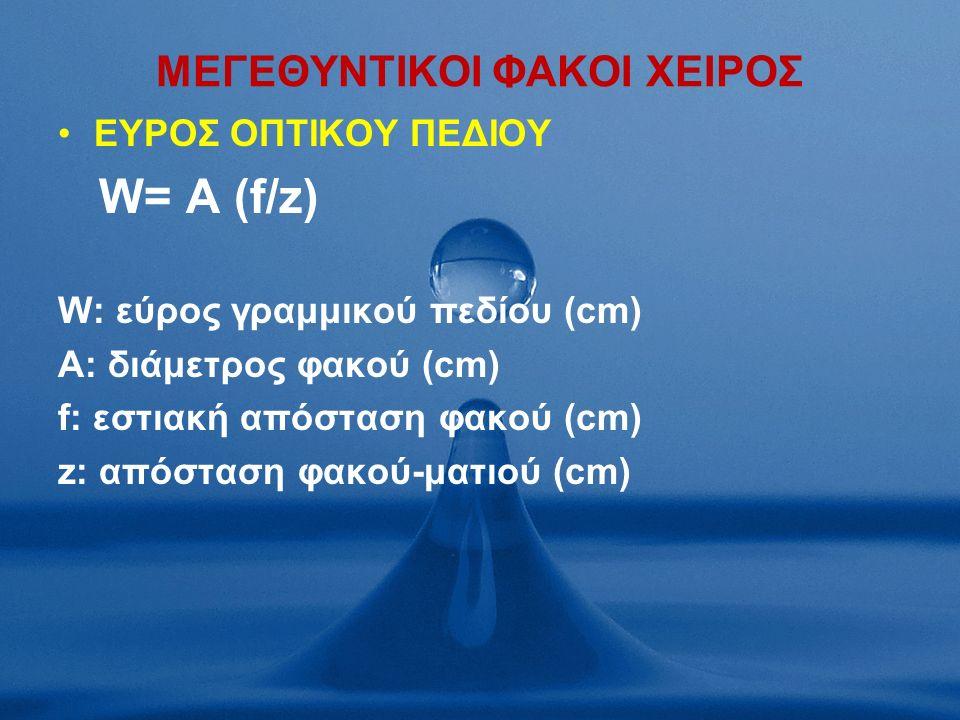 MΕΓΕΘΥΝΤΙΚΟΙ ΦΑΚΟΙ ΧΕΙΡΟΣ ΕΥΡΟΣ ΟΠΤΙΚΟΥ ΠΕΔΙΟΥ W= A (f/z) W: εύρος γραμμικού πεδίου (cm) A: διάμετρος φακού (cm) f: εστιακή απόσταση φακού (cm) z: απόσταση φακού-ματιού (cm)