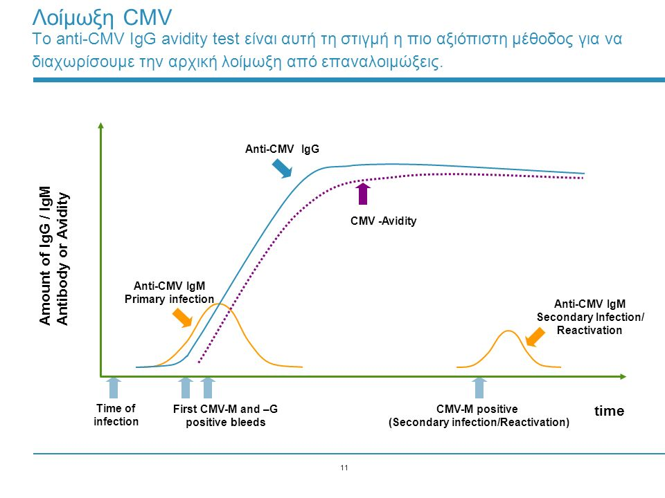 11 Anti-CMV IgM Primary infection Anti-CMV IgG CMV -Avidity Time of infection First CMV-M and –G positive bleeds CMV-M positive (Secondary infection/R