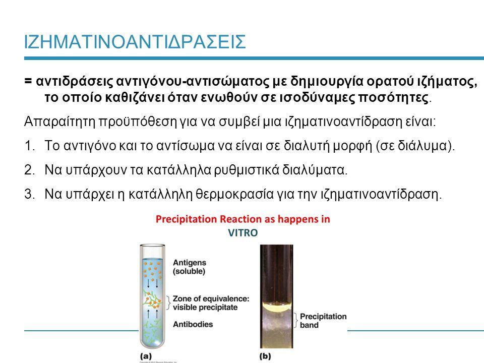 27 ΙΖΗΜΑΤΙΝΟΑΝΤΙΔΡΑΣΕΙΣ = αντιδράσεις αντιγόνου-αντισώματος με δημιουργία ορατού ιζήματος, το οποίο καθιζάνει όταν ενωθούν σε ισοδύναμες ποσότητες.