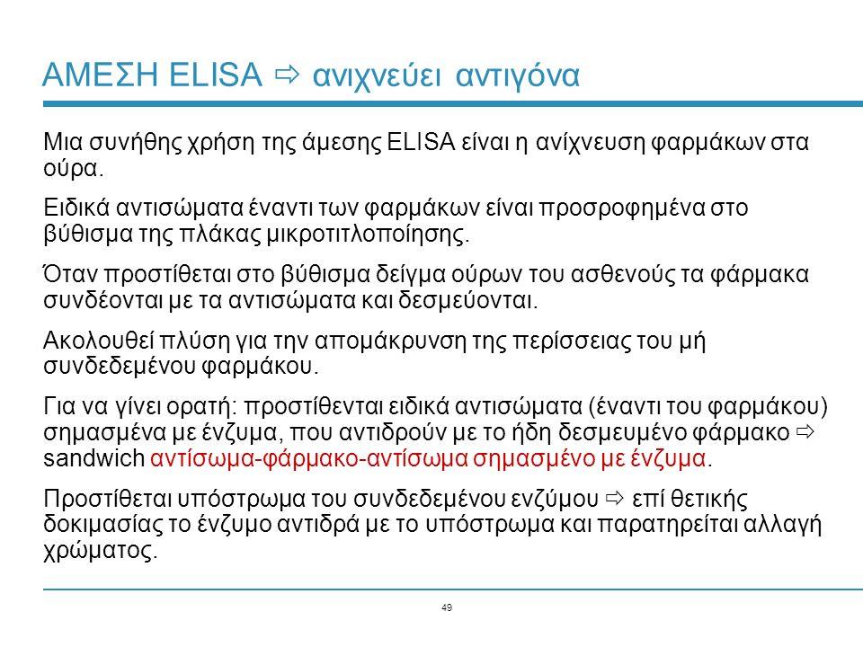 49 ΑΜΕΣΗ ELISA  ανιχνεύει αντιγόνα Μια συνήθης χρήση της άμεσης ELISA είναι η ανίχνευση φαρμάκων στα ούρα. Ειδικά αντισώματα έναντι των φαρμάκων είνα