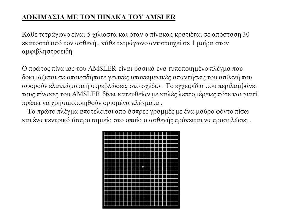 ΔΟΚΙΜΑΣΙΑ ΜΕ ΤΟΝ ΠΙΝΑΚΑ ΤΟΥ AMSLER Κάθε τετράγωνο είναι 5 χιλιοστά και όταν ο πίνακας κρατιέται σε απόσταση 30 εκατοστά από τον ασθενή, κάθε τετράγωνο αντιστοιχεί σε 1 μοίρα στον αμφιβληστροειδή Ο πρώτος πίνακας του AMSLER είναι βασικά ένα τυποποιημένο πλέγμα που δοκιμάζεται σε οποιεσδήποτε γενικές υποκειμενικές απαντήσεις του ασθενή που αφορούν ελαττώματα ή στρεβλώσεις στο σχέδιο.