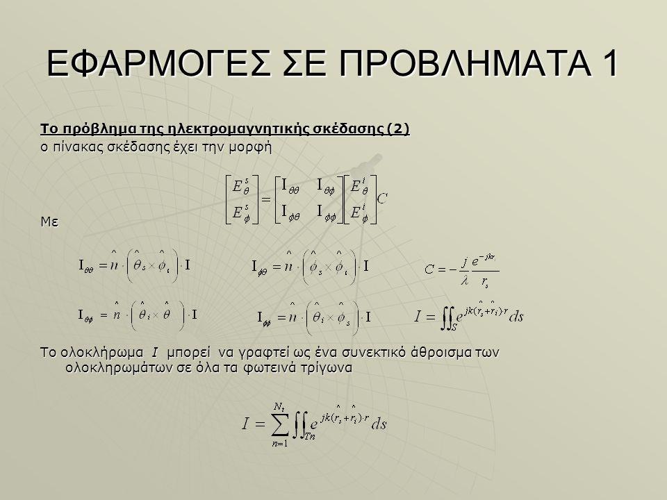 ΕΦΑΡΜΟΓΕΣ ΣΕ ΠΡΟΒΛΗΜΑΤΑ 1 Το πρόβλημα της ηλεκτρομαγνητικής σκέδασης (2) ο πίνακας σκέδασης έχει την μορφή Με Το ολοκλήρωμα I μπορεί να γραφτεί ως ένα συνεκτικό άθροισμα των ολοκληρωμάτων σε όλα τα φωτεινά τρίγωνα