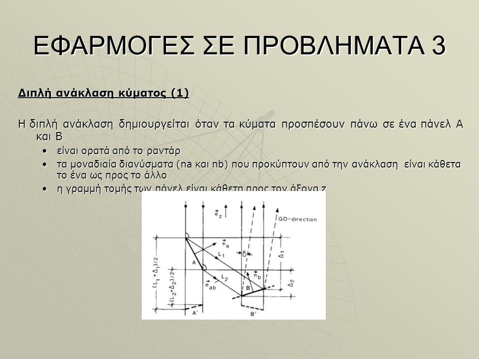ΕΦΑΡΜΟΓΕΣ ΣΕ ΠΡΟΒΛΗΜΑΤΑ 3 Διπλή ανάκλαση κύματος (1) Η διπλή ανάκλαση δημιουργείται όταν τα κύματα προσπέσουν πάνω σε ένα πάνελ Α και Β είναι ορατά από το ραντάρείναι ορατά από το ραντάρ τα μοναδιαία διανύσματα (na και nb) που προκύπτουν από την ανάκλαση είναι κάθετα το ένα ως προς το άλλοτα μοναδιαία διανύσματα (na και nb) που προκύπτουν από την ανάκλαση είναι κάθετα το ένα ως προς το άλλο η γραμμή τομής των πάνελ είναι κάθετη προς τον άξονα zη γραμμή τομής των πάνελ είναι κάθετη προς τον άξονα z