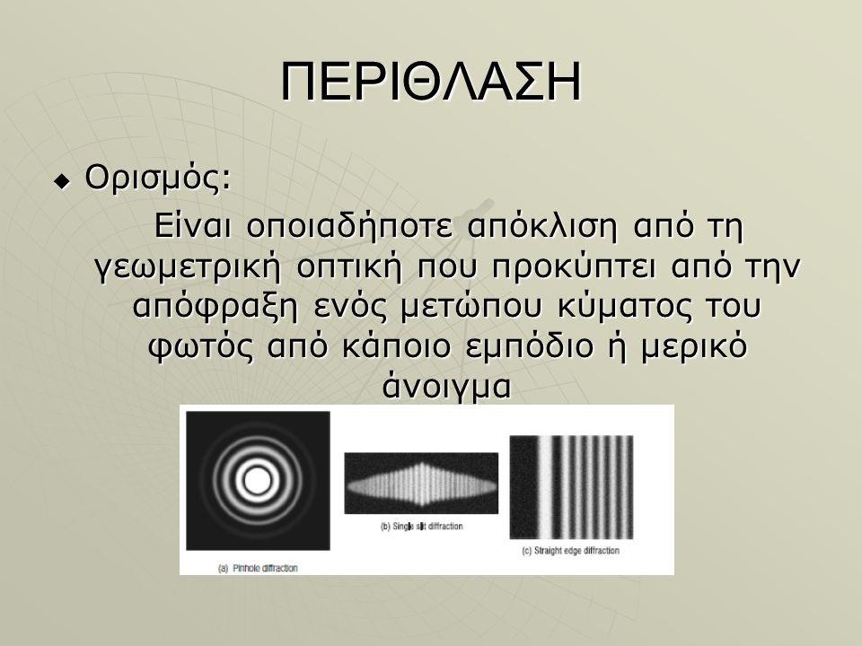 ΠΕΡΙΘΛΑΣΗ  Ορισμός: Είναι οποιαδήποτε απόκλιση από τη γεωμετρική οπτική που προκύπτει από την απόφραξη ενός μετώπου κύματος του φωτός από κάποιο εμπόδιο ή μερικό άνοιγμα Είναι οποιαδήποτε απόκλιση από τη γεωμετρική οπτική που προκύπτει από την απόφραξη ενός μετώπου κύματος του φωτός από κάποιο εμπόδιο ή μερικό άνοιγμα