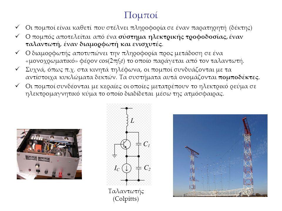 Πομποί Οι πομποί είναι καθετί που στέλνει πληροφορία σε έναν παρατηρητή (δέκτης) Ο πομπός αποτελείται από ένα σύστημα ηλεκτρικής τροφοδοσίας, έναν ταλ