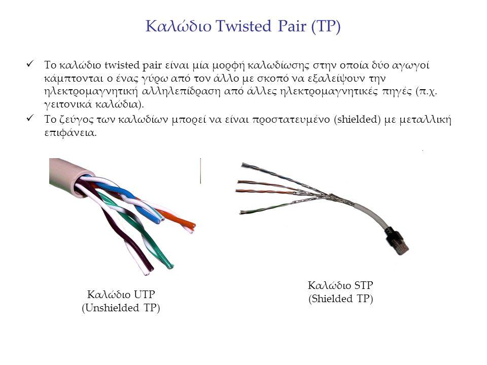 Καλώδιο Twisted Pair (TP) Το καλώδιο twisted pair είναι μία μορφή καλωδίωσης στην οποία δύο αγωγοί κάμπτονται ο ένας γύρω από τον άλλο με σκοπό να εξαλείψουν την ηλεκτρομαγνητική αλληλεπίδραση από άλλες ηλεκτρομαγνητικές πηγές (π.χ.