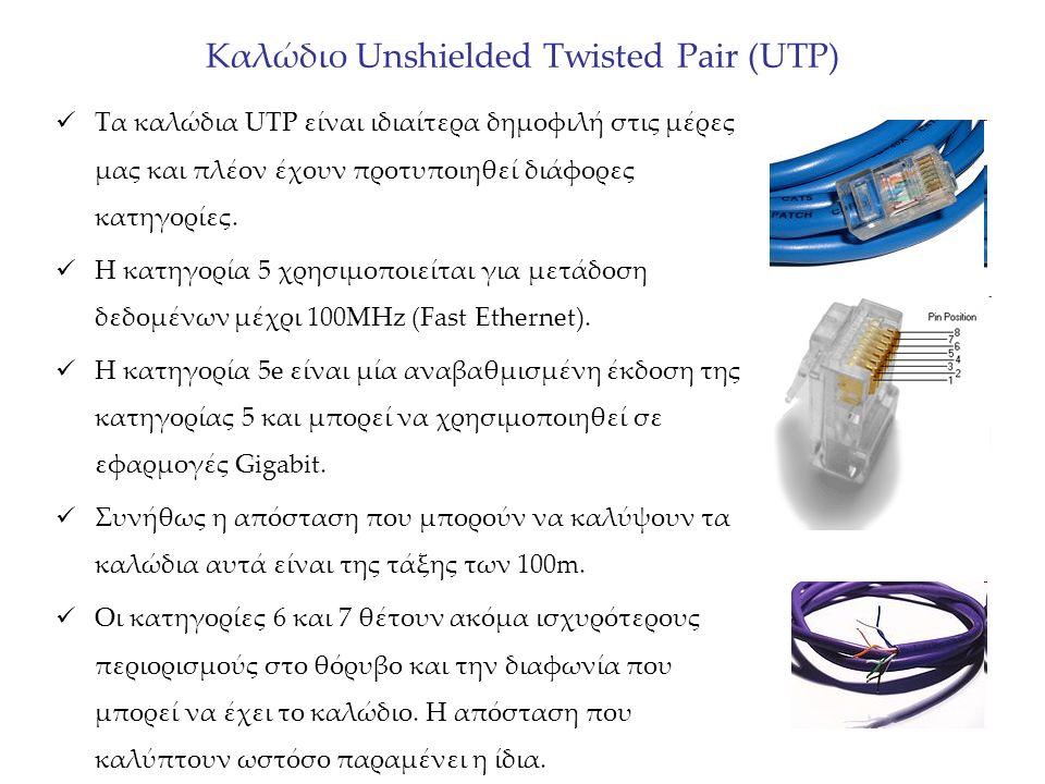 Καλώδιο Unshielded Twisted Pair (UTP) Τα καλώδια UTP είναι ιδιαίτερα δημοφιλή στις μέρες μας και πλέον έχουν προτυποιηθεί διάφορες κατηγορίες. Η κατηγ