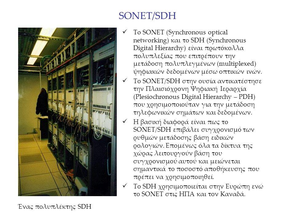 SONET/SDH To SONET (Synchronous optical networking) και το SDH (Synchronous Digital Hierarchy) είναι πρωτόκολλα πολυπλεξίας που επιτρέπουν την μετάδοσ