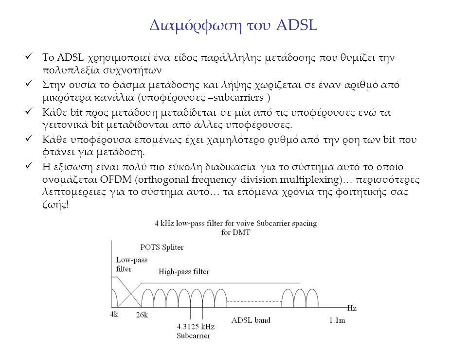 Διαμόρφωση του ADSL To ADSL χρησιμοποιεί ένα είδος παράλληλης μετάδοσης που θυμίζει την πολυπλεξία συχνοτήτων Στην ουσία το φάσμα μετάδοσης και λήψης χωρίζεται σε έναν αριθμό από μικρότερα κανάλια (υποφέρουσες –subcarriers ) Κάθε bit προς μετάδοση μεταδίδεται σε μία από τις υποφέρουσες ενώ τα γειτονικά bit μεταδίδονται από άλλες υποφέρουσες.