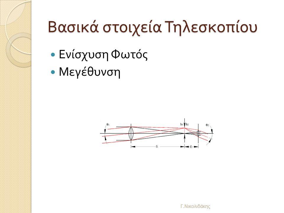 Βασικά στοιχεία Τηλεσκοπίου Ενίσχυση Φωτός Μεγέθυνση Γ. Νικολιδάκης