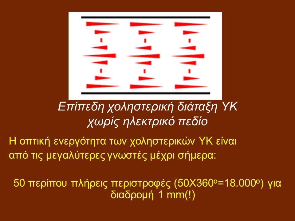 Η οπτική ενεργότητα των χοληστερικών ΥΚ είναι από τις μεγαλύτερες γνωστές μέχρι σήμερα: 50 περίπου πλήρεις περιστροφές (50Χ360 ο =18.000 ο ) για διαδρομή 1 mm(!) Επίπεδη χοληστερική διάταξη ΥΚ χωρίς ηλεκτρικό πεδίο