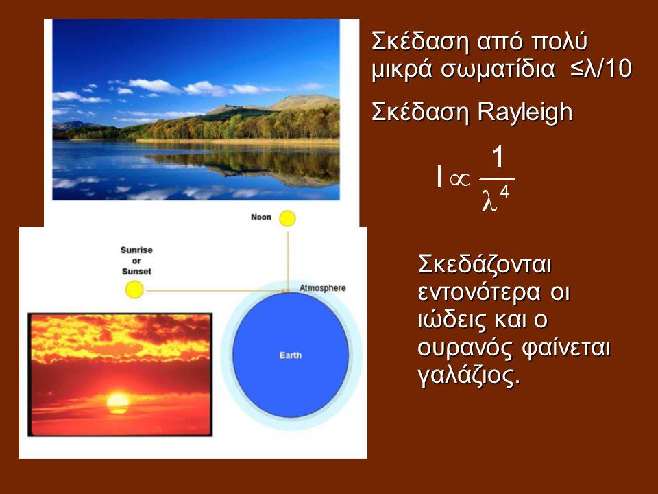 Σκέδαση από πολύ μικρά σωματίδια ≤λ/10 Σκέδαση Rayleigh Σκεδάζονται εντονότερα οι ιώδεις και ο ουρανός φαίνεται γαλάζιος.