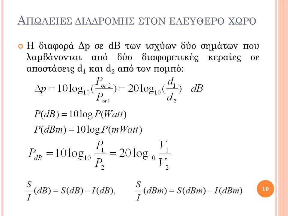 Α ΠΩΛΕΙΕΣ ΔΙΑΔΡΟΜΗΣ ΣΤΟΝ ΕΛΕΥΘΕΡΟ ΧΩΡΟ Η διαφορά Δp σε dB των ισχύων δύο σημάτων που λαμβάνονται από δύο διαφορετικές κεραίες σε αποστάσεις d 1 και d