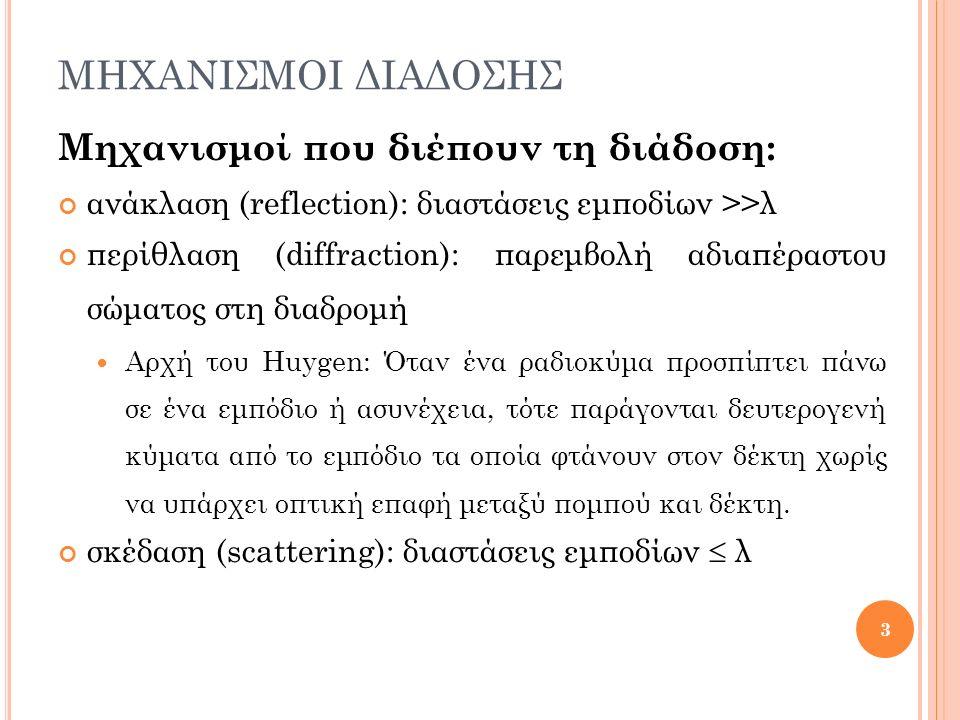 ΜΗΧΑΝΙΣΜΟΙ ΔΙΑΔΟΣΗΣ Μηχανισμοί που διέπουν τη διάδοση: ανάκλαση (reflection): διαστάσεις εμποδίων >>λ περίθλαση (diffraction): παρεμβολή αδιαπέραστου
