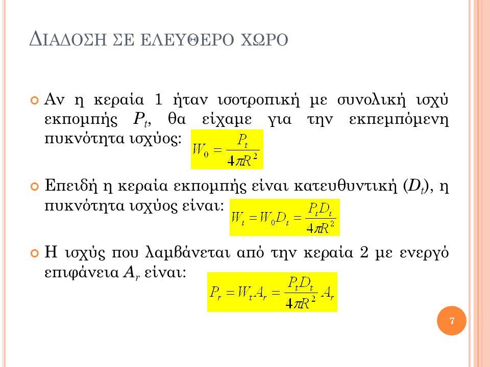 Δ ΙΑΔΟΣΗ ΣΕ ΕΛΕΥΘΕΡΟ ΧΩΡΟ Αν η κεραία 1 ήταν ισοτροπική με συνολική ισχύ εκπομπής P t, θα είχαμε για την εκπεμπόμενη πυκνότητα ισχύος: Επειδή η κεραία