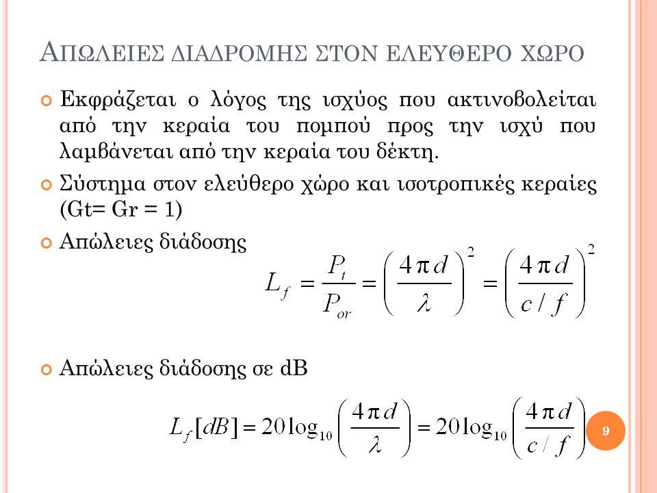 Α ΠΩΛΕΙΕΣ ΔΙΑΔΡΟΜΗΣ ΣΤΟΝ ΕΛΕΥΘΕΡΟ ΧΩΡΟ Η διαφορά Δp σε dB των ισχύων δύο σημάτων που λαμβάνονται από δύο διαφορετικές κεραίες σε αποστάσεις d 1 και d 2 από τον πομπό: 10