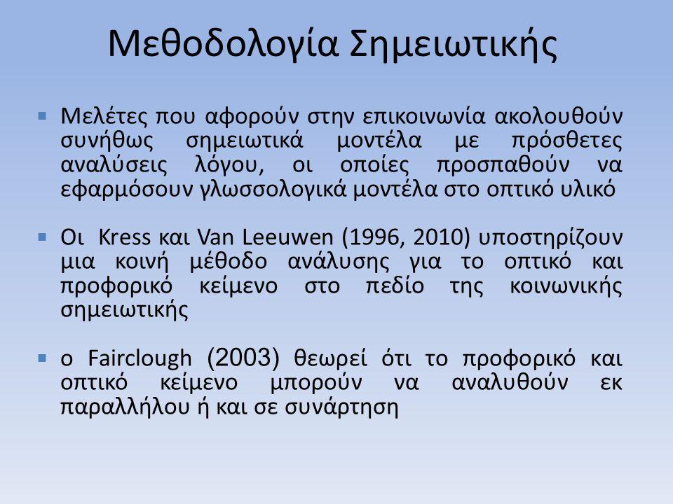 Μεθοδολογία Σημειωτικής  Μελέτες που αφορούν στην επικοινωνία ακολουθούν συνήθως σημειωτικά μοντέλα με πρόσθετες αναλύσεις λόγου, οι οποίες προσπαθούν να εφαρμόσουν γλωσσολογικά μοντέλα στο οπτικό υλικό  Οι Kress και Van Leeuwen (1996, 2010) υποστηρίζουν μια κοινή μέθοδο ανάλυσης για το οπτικό και προφορικό κείμενο στο πεδίο της κοινωνικής σημειωτικής  ο Fairclough (2003) θεωρεί ότι το προφορικό και οπτικό κείμενο μπορούν να αναλυθούν εκ παραλλήλου ή και σε συνάρτηση