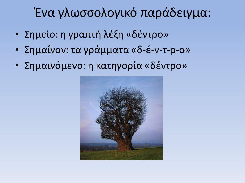 Ένα γλωσσολογικό παράδειγμα: Σημείο: η γραπτή λέξη «δέντρο» Σημαίνον: τα γράμματα «δ-έ-ν-τ-ρ-ο» Σημαινόμενο: η κατηγορία «δέντρο»