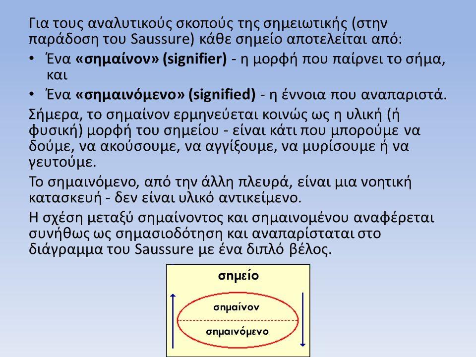 Για τους αναλυτικούς σκοπούς της σημειωτικής (στην παράδοση του Saussure) κάθε σημείο αποτελείται από: Ένα «σημαίνον» (signifier) - η μορφή που παίρνει το σήμα, και Ένα «σημαινόμενο» (signified) - η έννοια που αναπαριστά.