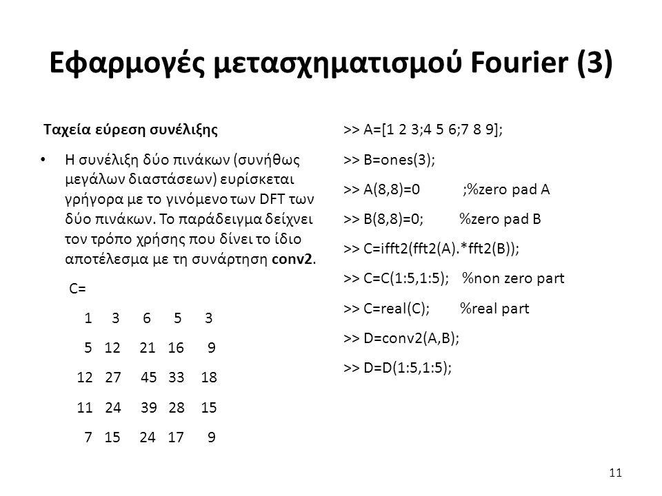 Εφαρμογές μετασχηματισμού Fourier (3) Ταχεία εύρεση συνέλιξης Η συνέλιξη δύο πινάκων (συνήθως μεγάλων διαστάσεων) ευρίσκεται γρήγορα με το γινόμενο των DFT των δύο πινάκων.