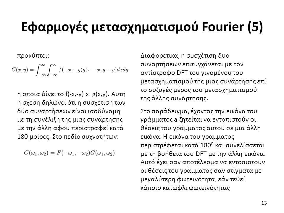 Εφαρμογές μετασχηματισμού Fourier (5) προκύπτει: η οποία δίνει το f(-x,-y) x g(x,y).
