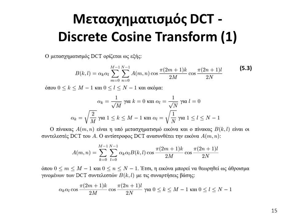 Μετασχηματισμός DCT - Discrete Cosine Transform (1) 15