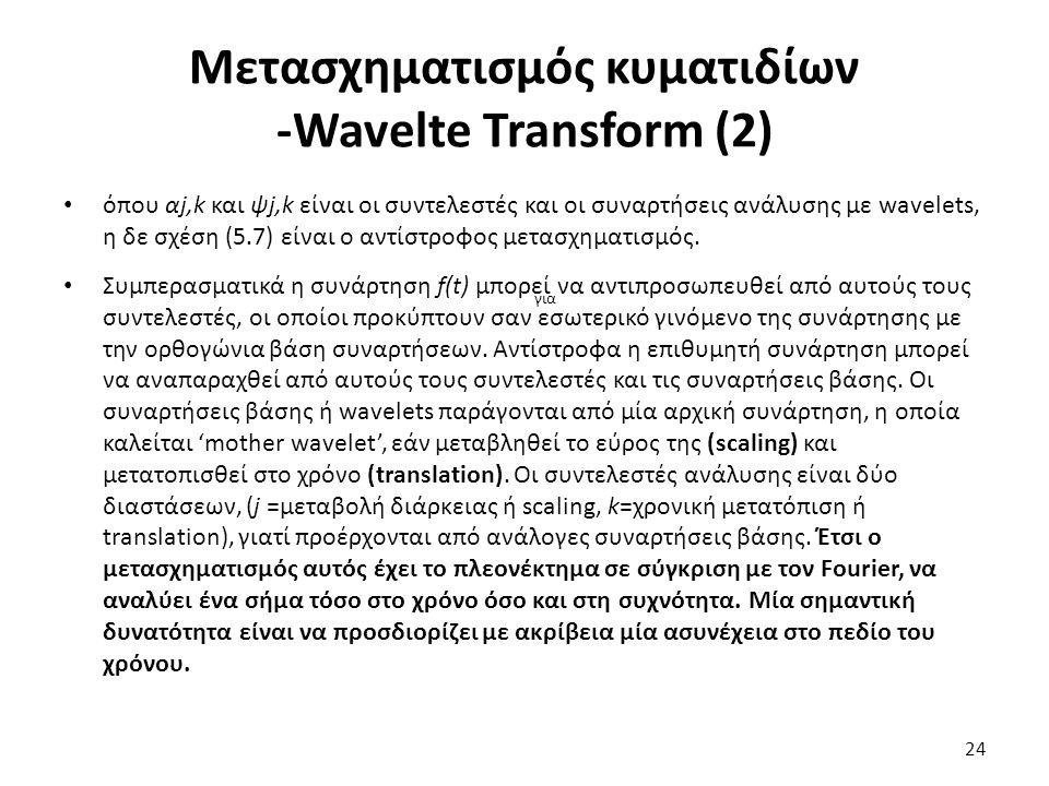 Μετασχηματισμός κυματιδίων -Wavelte Transform (2) όπου αj,k και ψj,k είναι οι συντελεστές και οι συναρτήσεις ανάλυσης με wavelets, η δε σχέση (5.7) είναι ο αντίστροφος μετασχηματισμός.