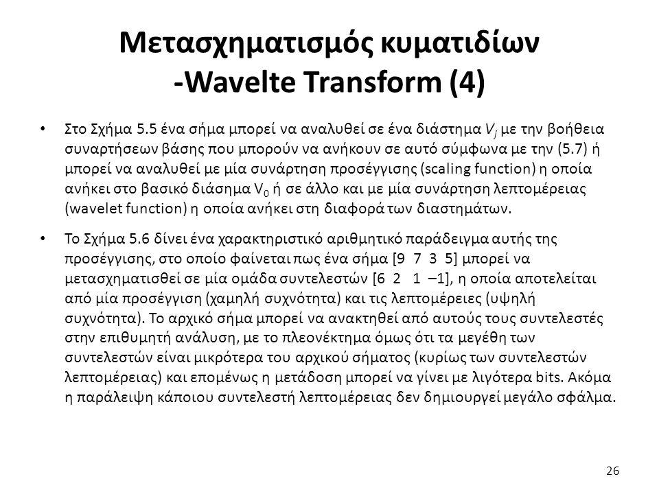 Μετασχηματισμός κυματιδίων -Wavelte Transform (4) Στο Σχήμα 5.5 ένα σήμα μπορεί να αναλυθεί σε ένα διάστημα V j με την βοήθεια συναρτήσεων βάσης που μπορούν να ανήκουν σε αυτό σύμφωνα με την (5.7) ή μπορεί να αναλυθεί με μία συνάρτηση προσέγγισης (scaling function) η οποία ανήκει στο βασικό διάσημα V 0 ή σε άλλο και με μία συνάρτηση λεπτομέρειας (wavelet function) η οποία ανήκει στη διαφορά των διαστημάτων.