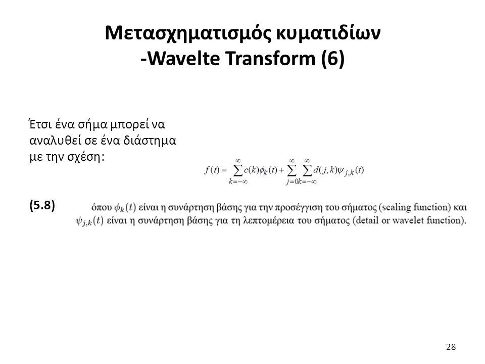 Έτσι ένα σήμα μπορεί να αναλυθεί σε ένα διάστημα με την σχέση: (5.8) Μετασχηματισμός κυματιδίων -Wavelte Transform (6) 28