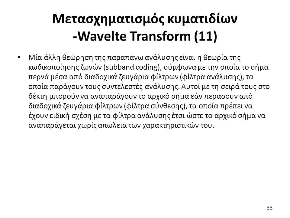 Μετασχηματισμός κυματιδίων -Wavelte Transform (11) Μία άλλη θεώρηση της παραπάνω ανάλυσης είναι η θεωρία της κωδικοποίησης ζωνών (subband coding), σύμφωνα με την οποία το σήμα περνά μέσα από διαδοχικά ζευγάρια φίλτρων (φίλτρα ανάλυσης), τα οποία παράγουν τους συντελεστές ανάλυσης.