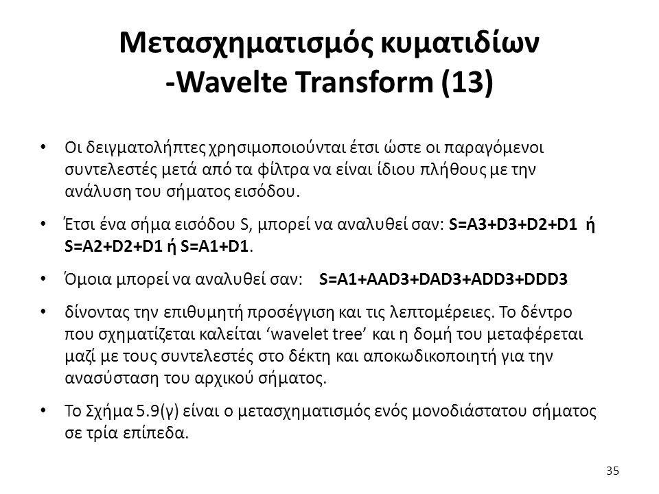 Μετασχηματισμός κυματιδίων -Wavelte Transform (13) Οι δειγματολήπτες χρησιμοποιούνται έτσι ώστε οι παραγόμενοι συντελεστές μετά από τα φίλτρα να είναι ίδιου πλήθους με την ανάλυση του σήματος εισόδου.