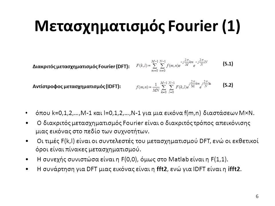 Μετασχηματισμός Fourier (1) όπου k=0,1,2,…,M-1 και l=0,1,2,…,N-1 για μια εικόνα f(m,n) διαστάσεων Μ×Ν.
