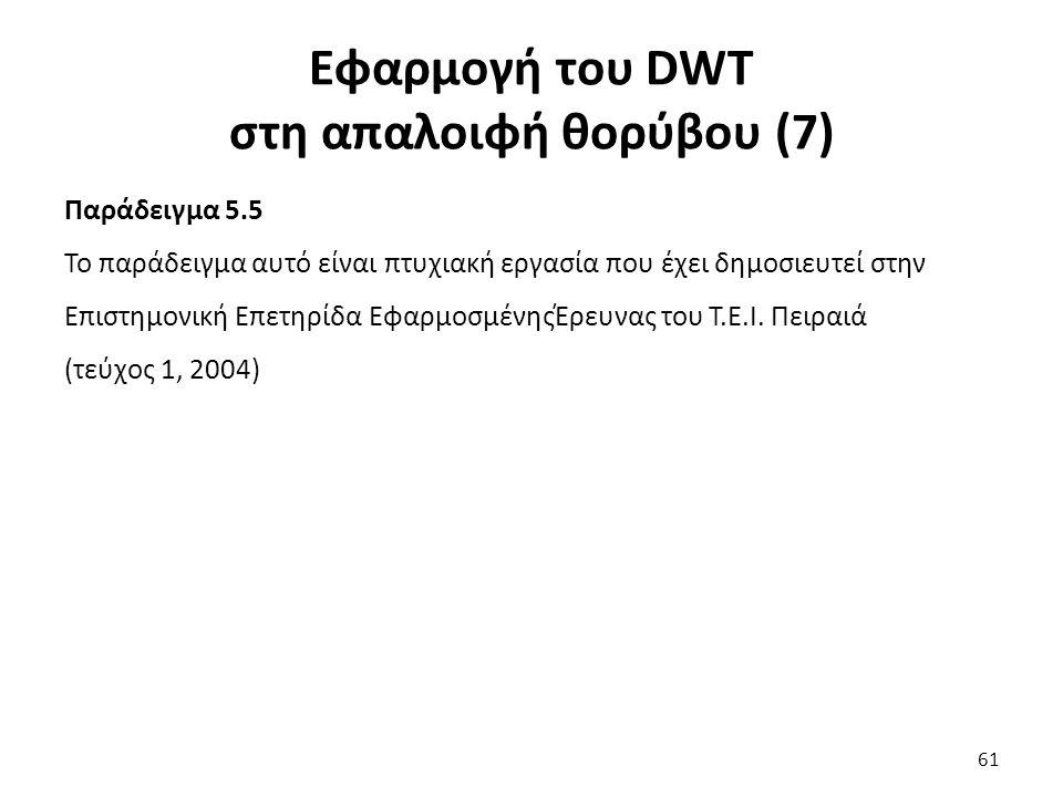 Εφαρμογή του DWT στη απαλοιφή θορύβου (7) Παράδειγμα 5.5 Το παράδειγμα αυτό είναι πτυχιακή εργασία που έχει δημοσιευτεί στην Επιστημονική Επετηρίδα ΕφαρμοσμένηςΈρευνας του Τ.Ε.Ι.