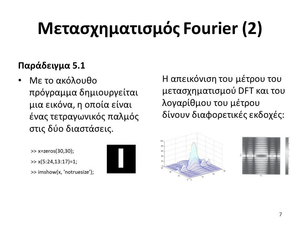 Μετασχηματισμός Fourier (2) Παράδειγμα 5.1 Με το ακόλουθο πρόγραμμα δημιουργείται μια εικόνα, η οποία είναι ένας τετραγωνικός παλμός στις δύο διαστάσεις.