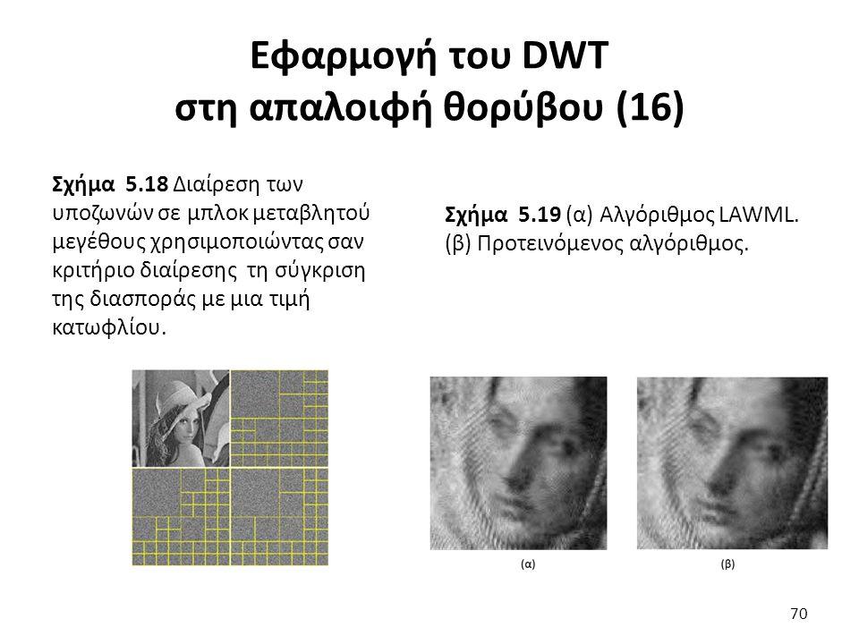 Εφαρμογή του DWT στη απαλοιφή θορύβου (16) Σχήμα 5.18 Διαίρεση των υποζωνών σε μπλοκ μεταβλητού μεγέθους χρησιμοποιώντας σαν κριτήριο διαίρεσης τη σύγκριση της διασποράς με μια τιμή κατωφλίου.
