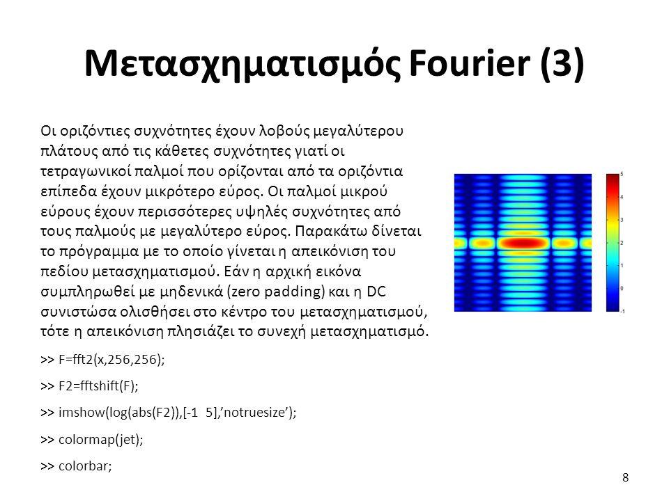 Μετασχηματισμός Fourier (3) Οι οριζόντιες συχνότητες έχουν λοβούς μεγαλύτερου πλάτους από τις κάθετες συχνότητες γιατί οι τετραγωνικοί παλμοί που ορίζονται από τα οριζόντια επίπεδα έχουν μικρότερο εύρος.