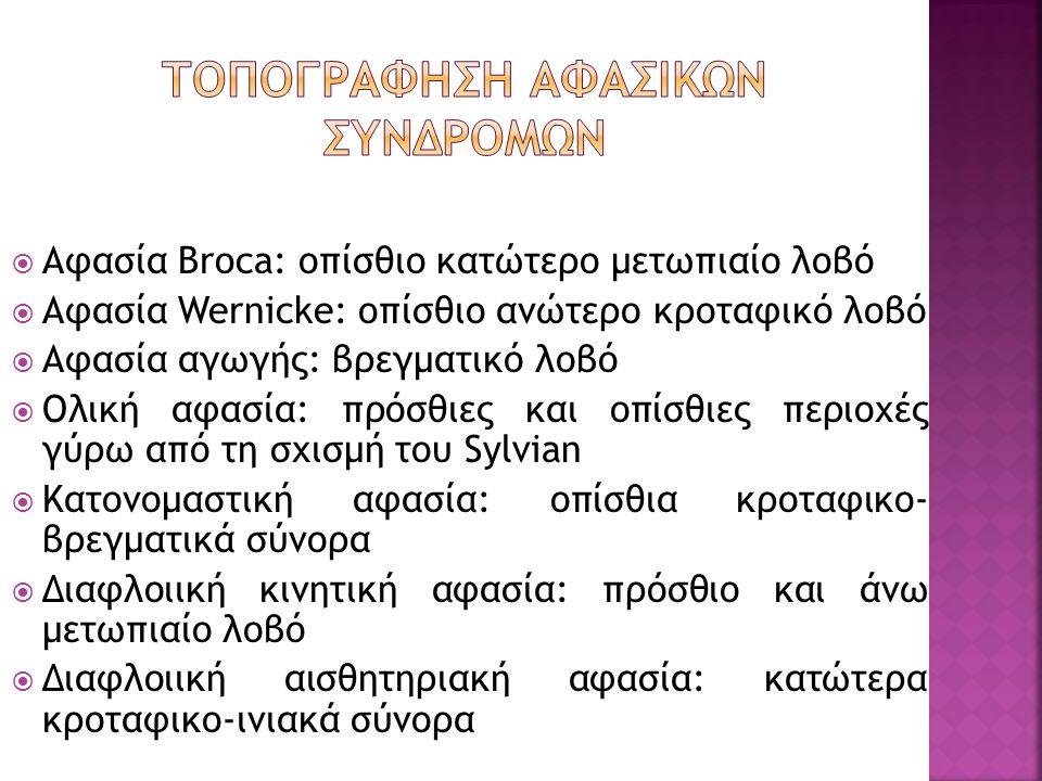 Αφασία Broca: οπίσθιο κατώτερο μετωπιαίο λοβό  Αφασία Wernicke: οπίσθιο ανώτερο κροταφικό λοβό  Αφασία αγωγής: βρεγματικό λοβό  Ολική αφασία: πρό