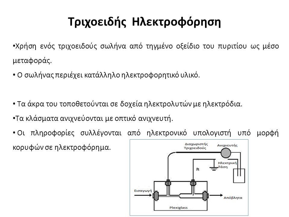 Τριχοειδής Ηλεκτροφόρηση Χρήση ενός τριχοειδούς σωλήνα από τηγμένο οξείδιο του πυριτίου ως μέσο μεταφοράς.