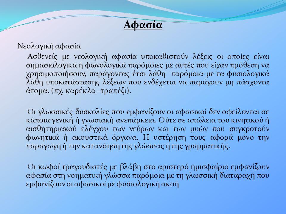 Αφασία Νεολογική αφασία Ασθενείς με νεολογική αφασία υποκαθιστούν λέξεις οι οποίες είναι σημασιολογικά ή φωνολογικά παρόμοιες με αυτές που είχαν πρόθεση να χρησιμοποιήσουν, παράγοντας έτσι λάθη παρόμοια με τα φυσιολογικά λάθη υποκατάστασης λέξεων που ενδέχεται να παράγουν μη πάσχοντα άτομα.
