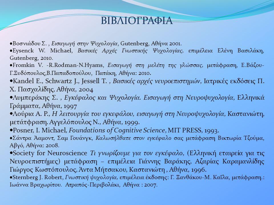 ΒΙΒΛΙΟΓΡΑΦΙΑ  Βοσνιάδου Σ., Εισαγωγή στην Ψυχολογία, Gutenberg, Αθήνα 2001.  Eysenck W. Michael, Βασικές Αρχές Γνωστικής Ψυχολογίας, επιμέλεια Ελένη