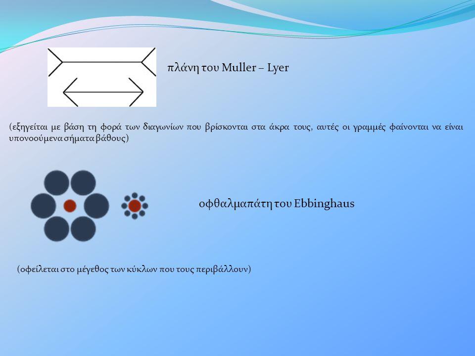 πλάνη του Muller – Lyer (εξηγείται με βάση τη φορά των διαγωνίων που βρίσκονται στα άκρα τους, αυτές οι γραμμές φαίνονται να είναι υπονοούμενα σήματα βάθους) οφθαλμαπάτη του Ebbinghaus (οφείλεται στο μέγεθος των κύκλων που τους περιβάλλουν)