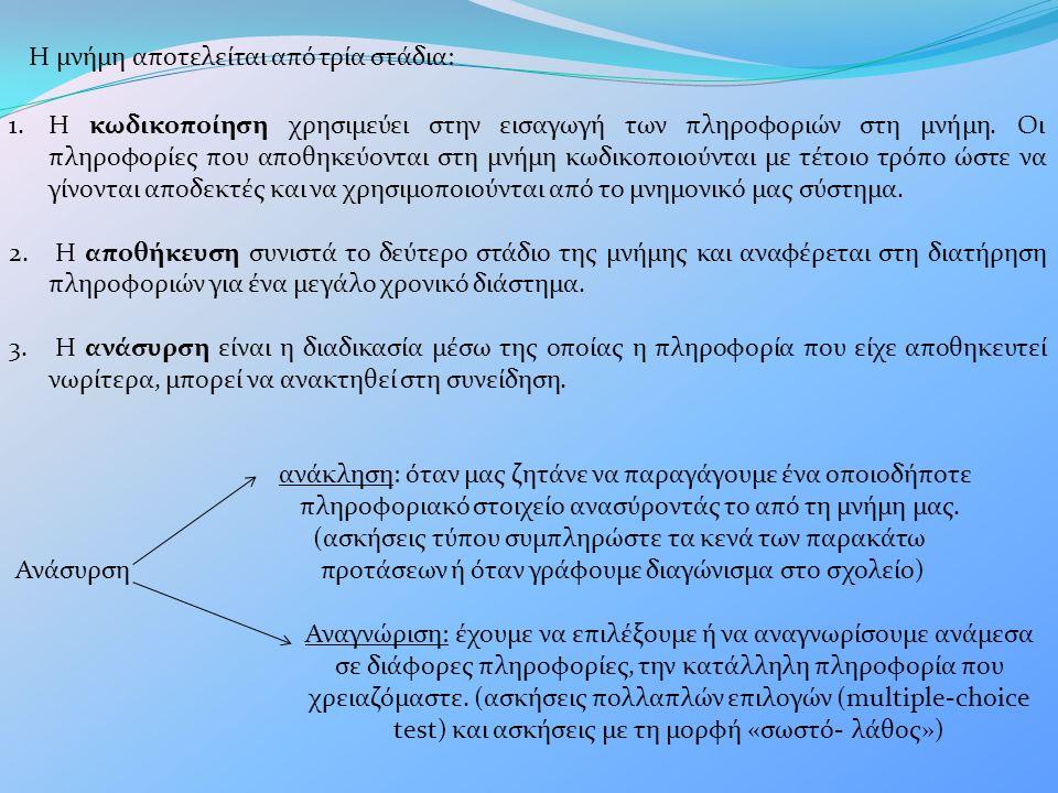 Η μνήμη αποτελείται από τρία στάδια: 1.Η κωδικοποίηση χρησιμεύει στην εισαγωγή των πληροφοριών στη μνήμη.